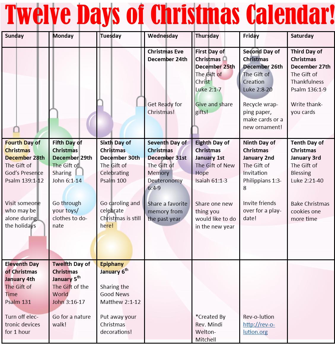 12 Days Of Christmas Calendar | Christmas Printable Intended For 12 Days Of Christmas Calendar