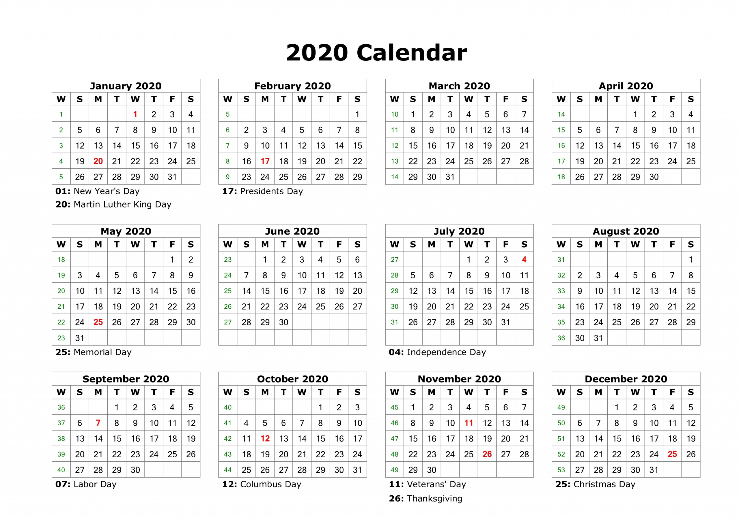 12 Month Calendar 2020 Printable With Holidays   Monthly Within 12 Mo Calendar Template One Page No Dates