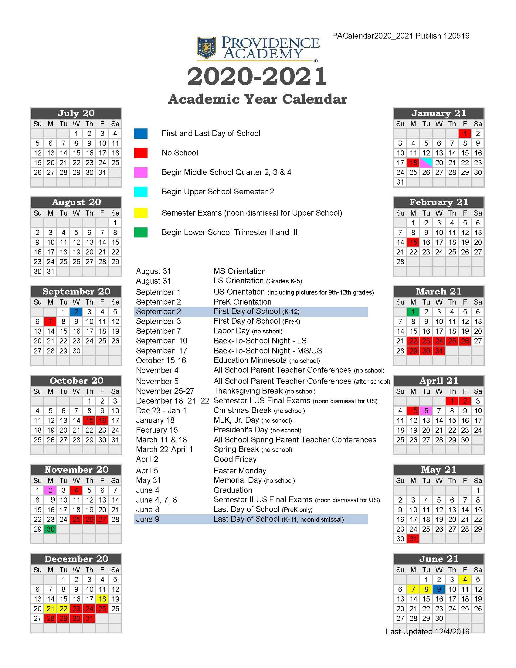 19-20_Providence-Academy-Academic-Calendar-2020-2021 for White Bear Lake Calendar Handbook 2021 2021