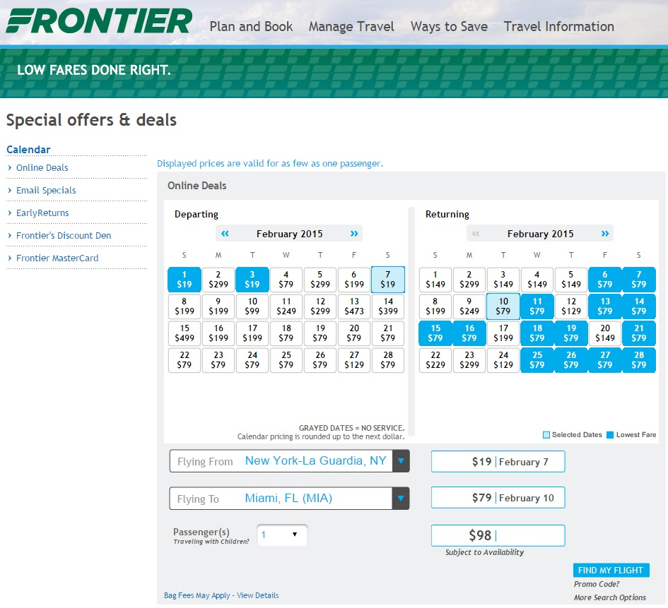 $19 $29    Last Minute Frontier Sale (Each Way)   Fly Intended For Frontier Airlines Low Fare Calendar