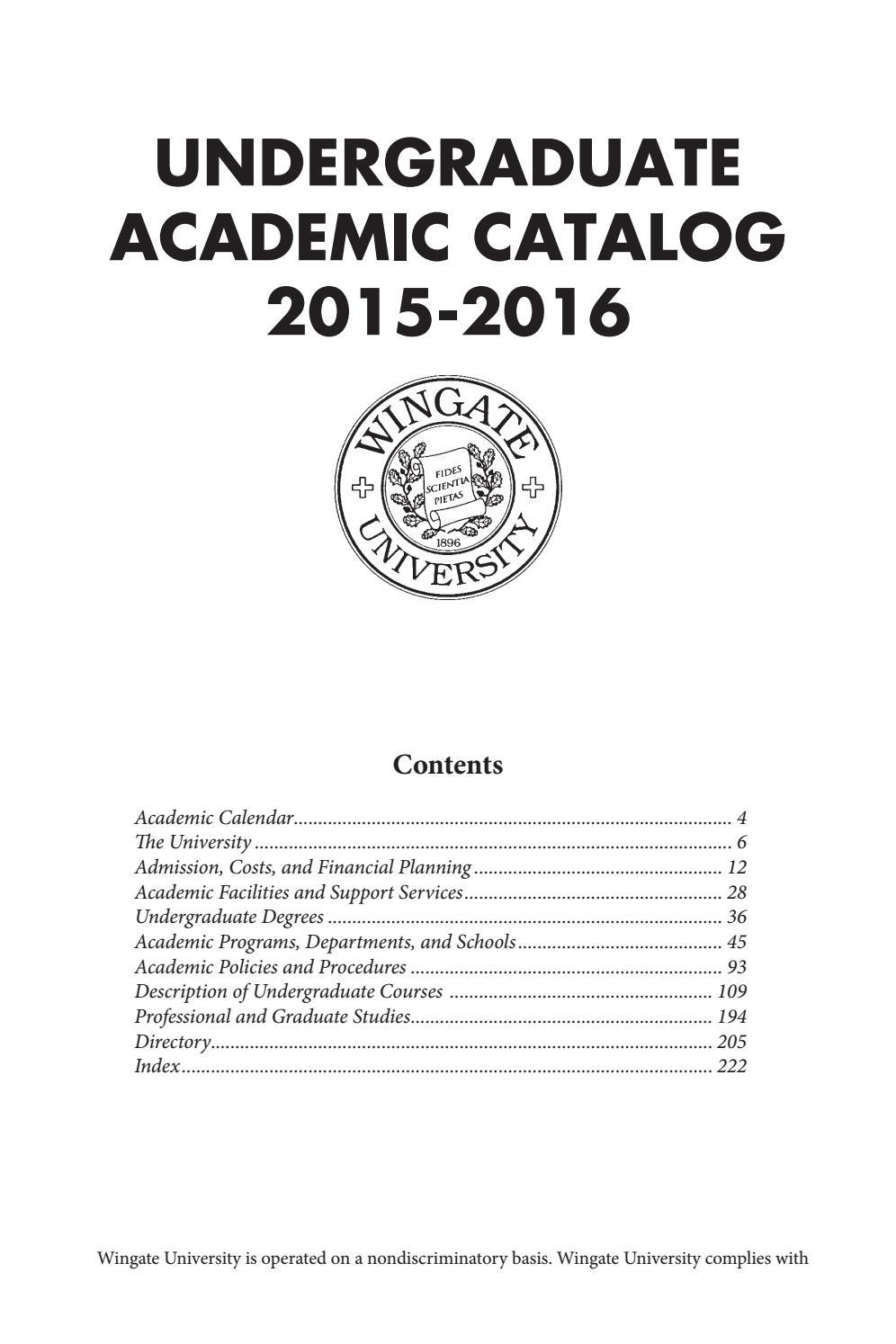 2015 16 Undergraduate Catalogwingate University - Issuu Throughout Delaware State University Academic Calendar
