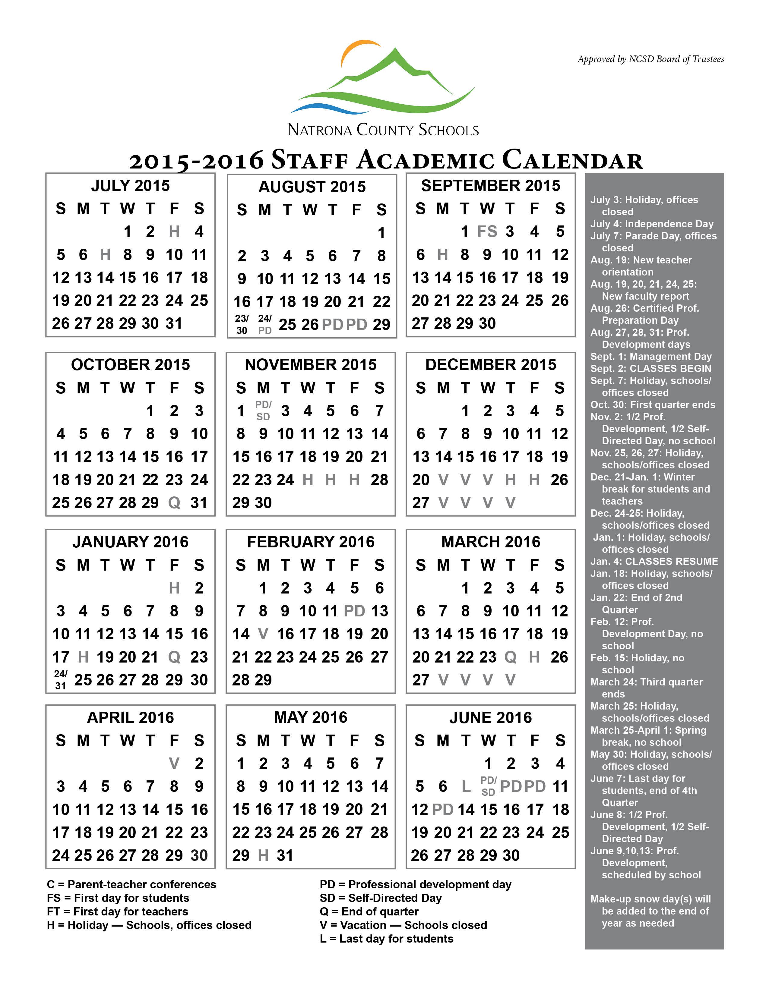 2015 2016 Academic Calendar   Natrona Schools – Our Kids With Regard To University Of Wyoming Academic Calendar