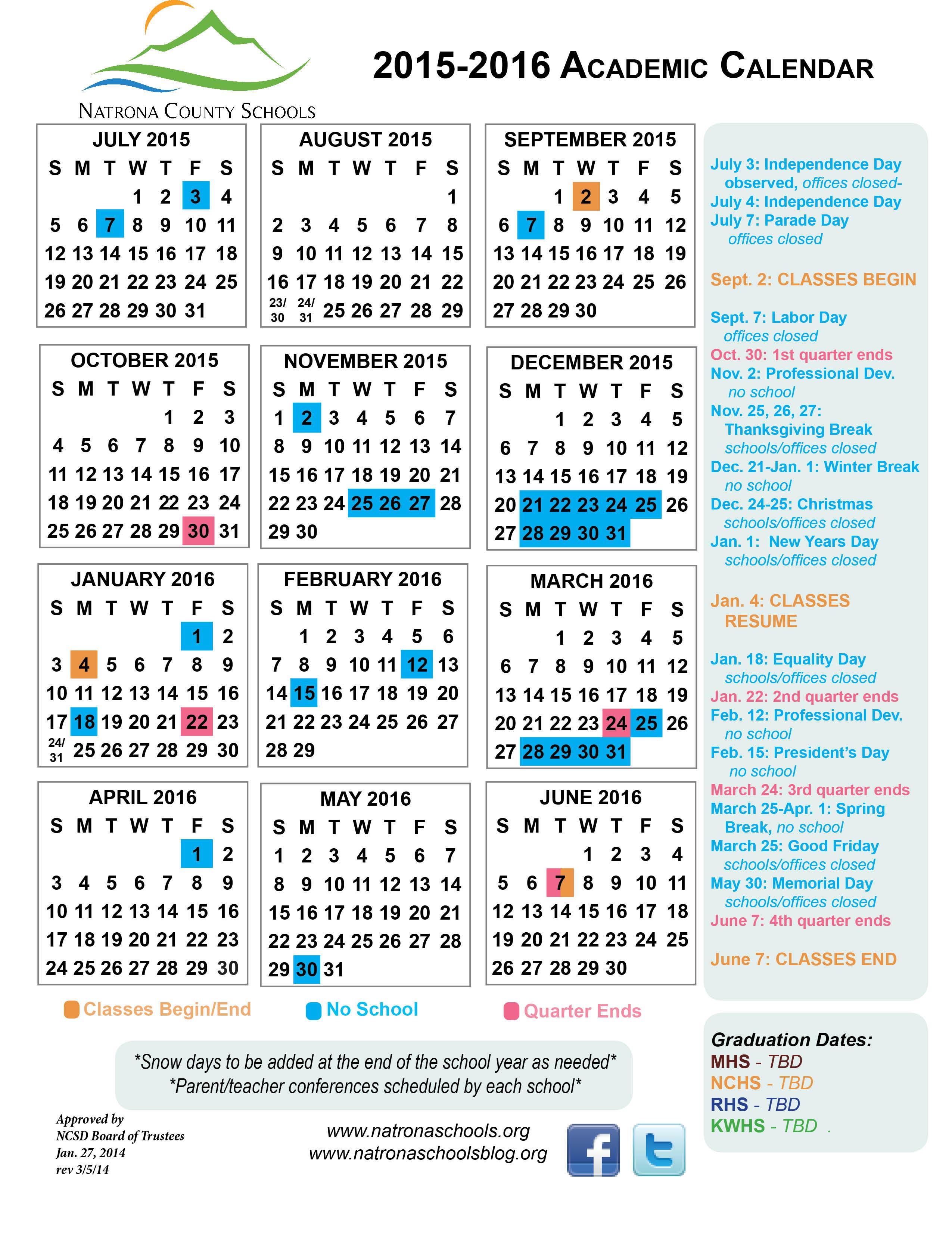 2015 2016 Academic Calendar   Natrona Schools – Our Kids With University Of Wyoming Academic Calendar