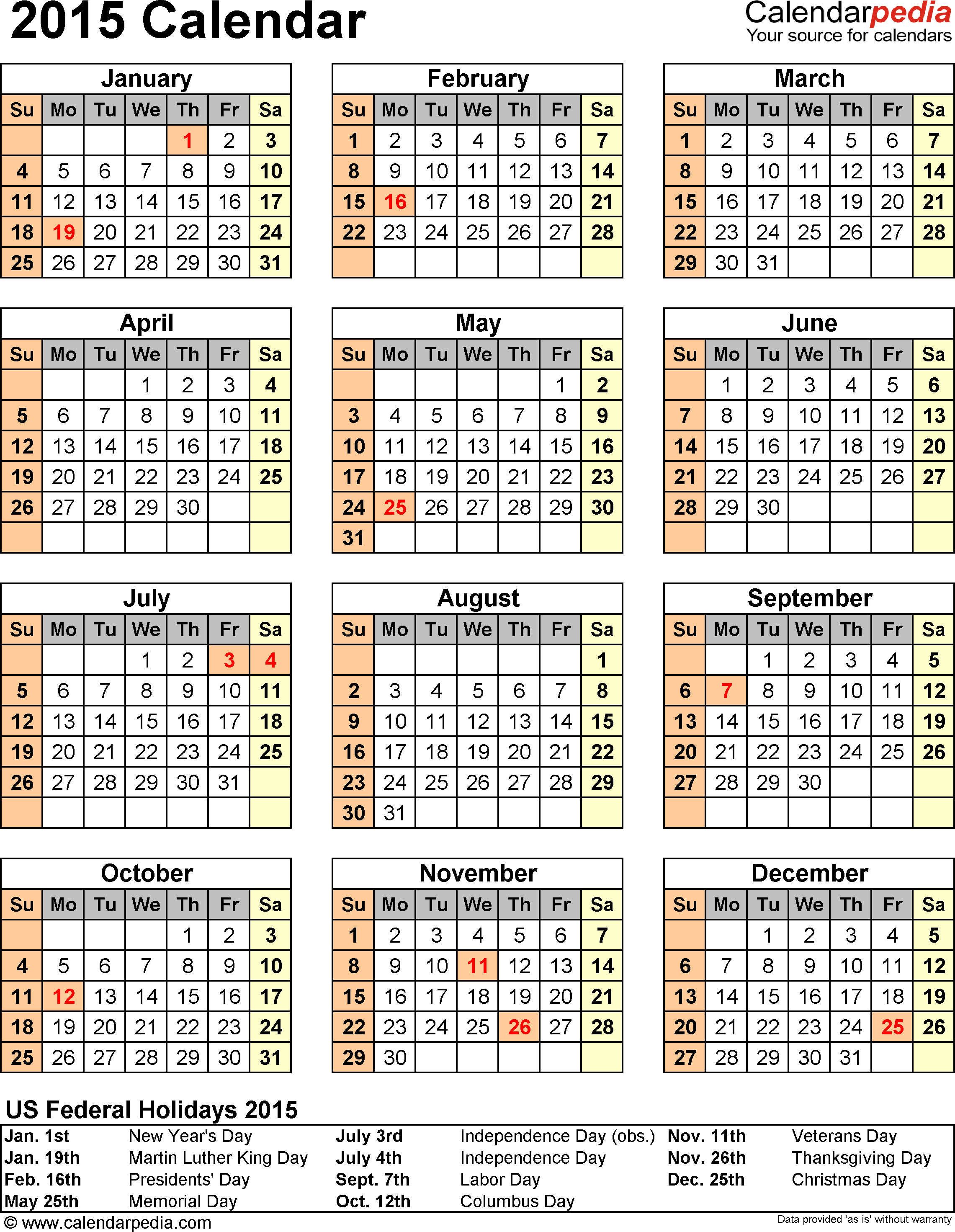 2015 Calendar Printable – Free Large Images Throughout 2015 Pay Period Calendar Federal