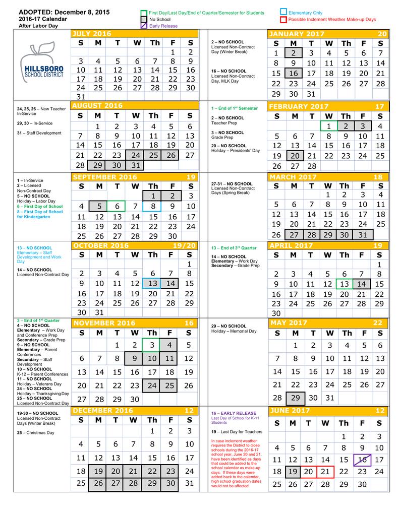2016 17 District Calendar – Hillsboro School District Throughout North Penn District Calendar