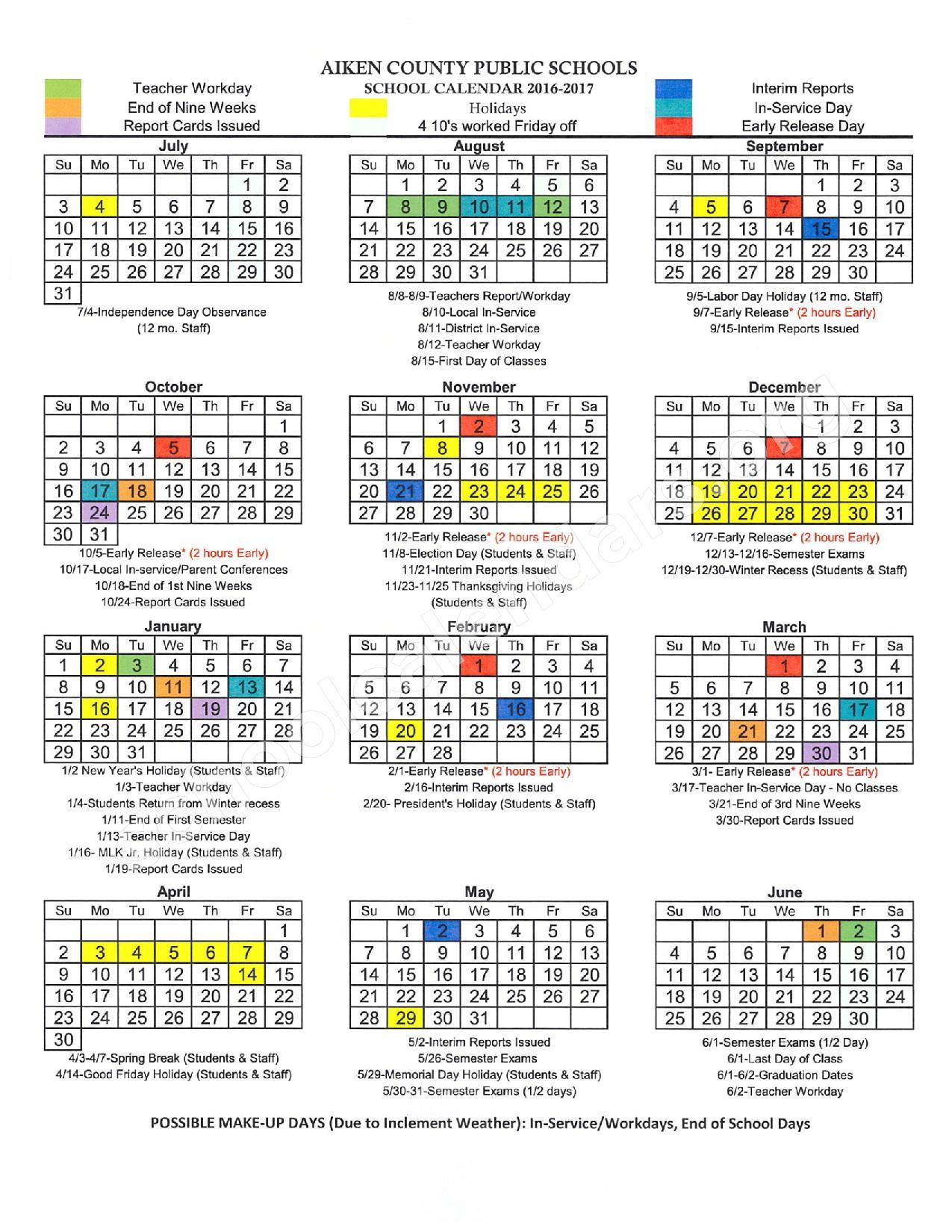 2016 - 2017 District Calendar | Aiken County School District for Aiken County Schools Calendar