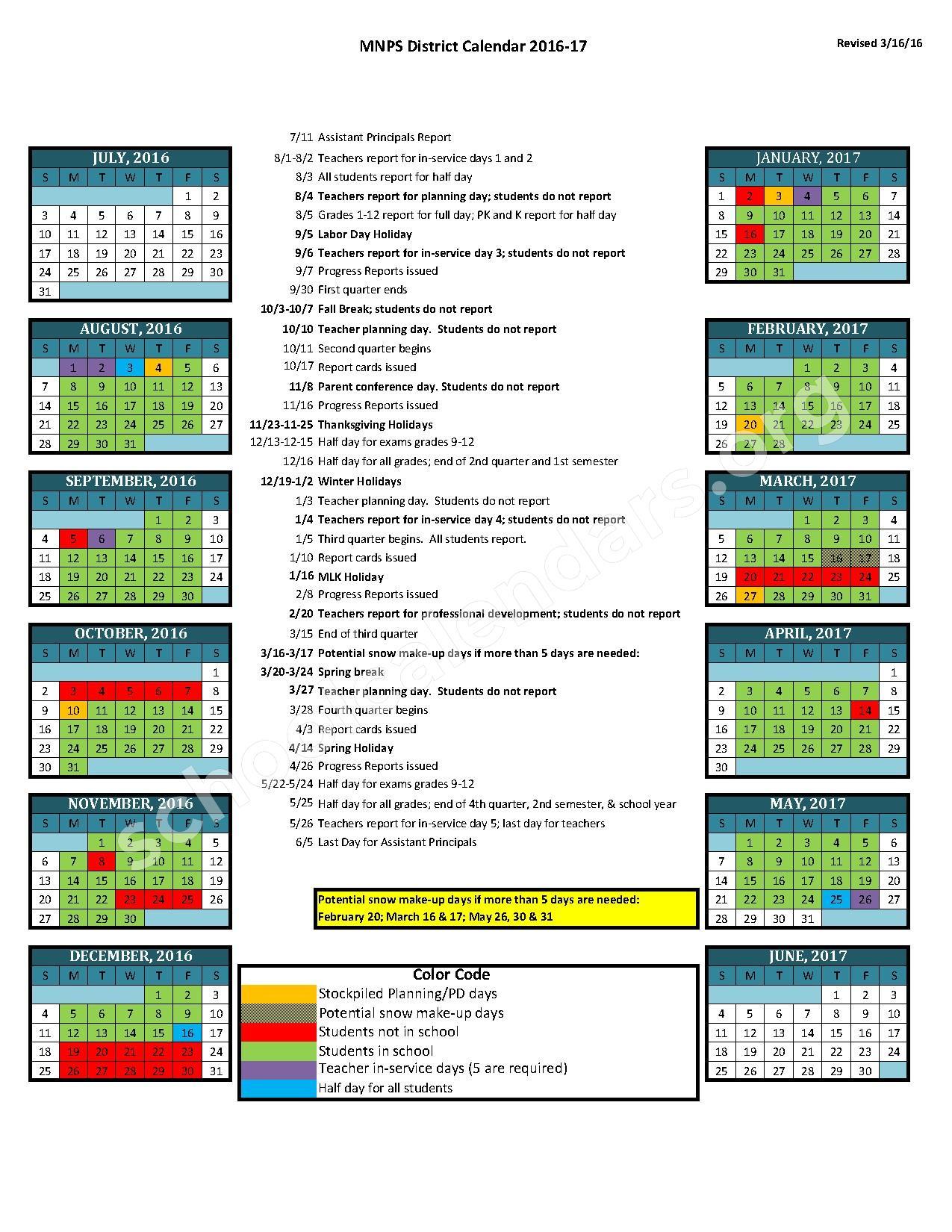 2016 - 2017 District Calendar | Davidson County Schools Throughout When Is Spring Break For Davidson County Tn