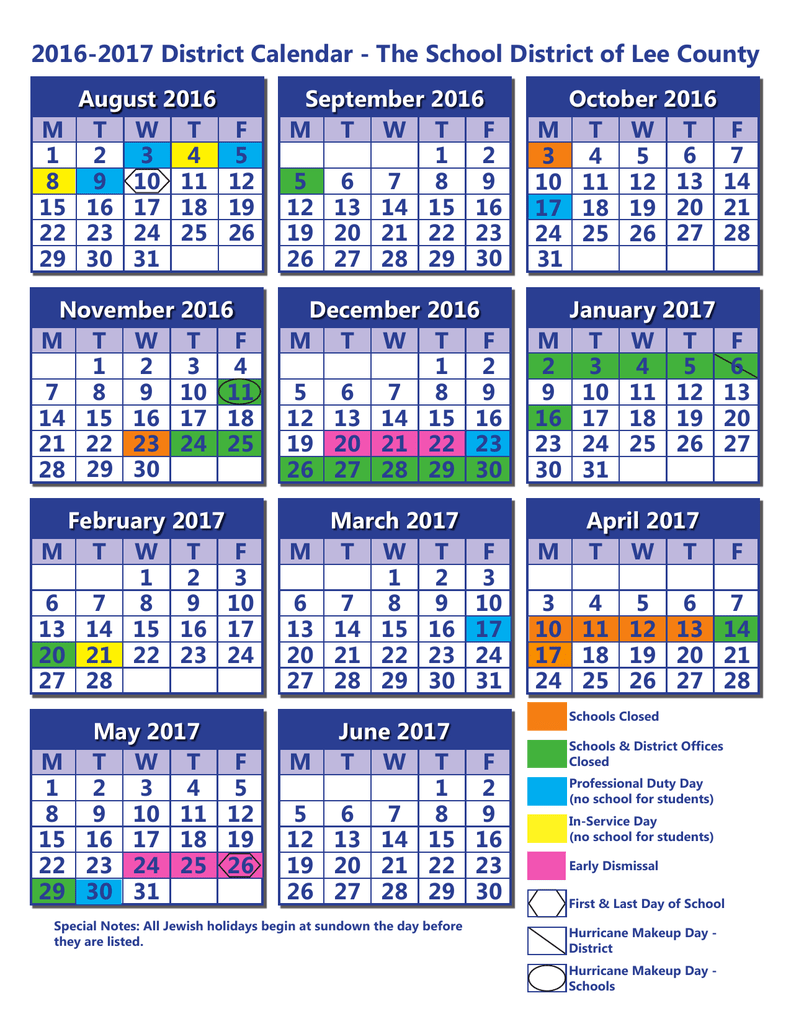 2016 2017 District Calendar - The School District Of Lee County Regarding North Penn District Calendar