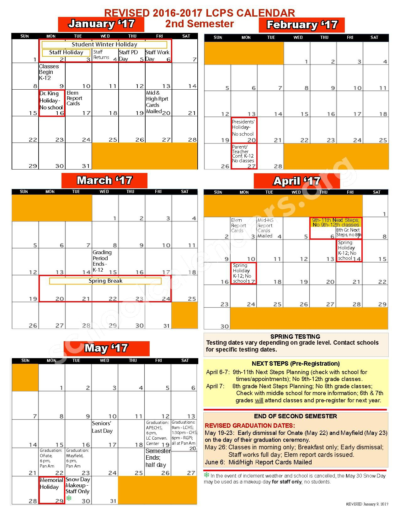 2016 - 2017 School Calendar   Las Cruces Public Schools Throughout Las Cruces Ps Calendar
