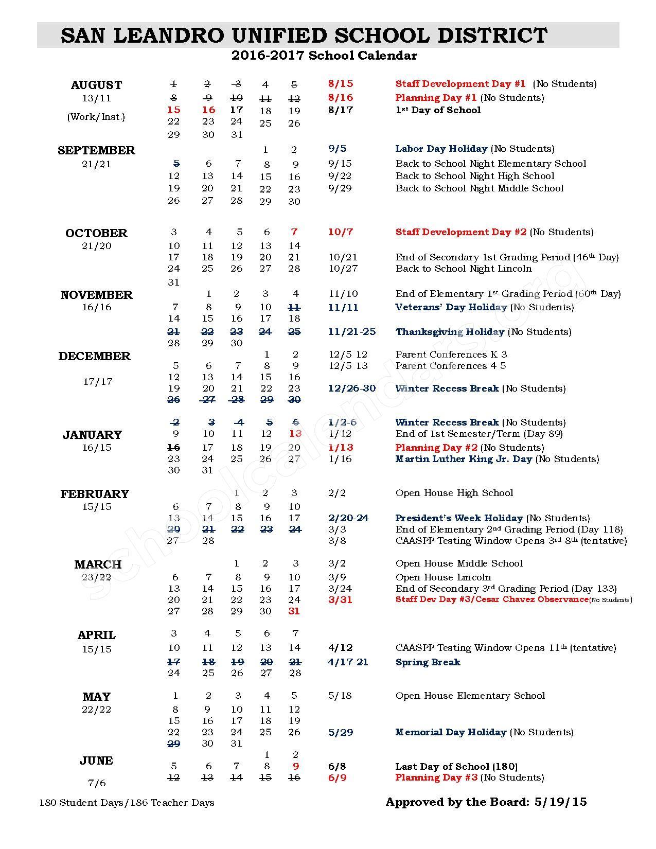 2016 - 2017 School Calendar | San Leandro Unified School inside Sn Leandro High School Calendart