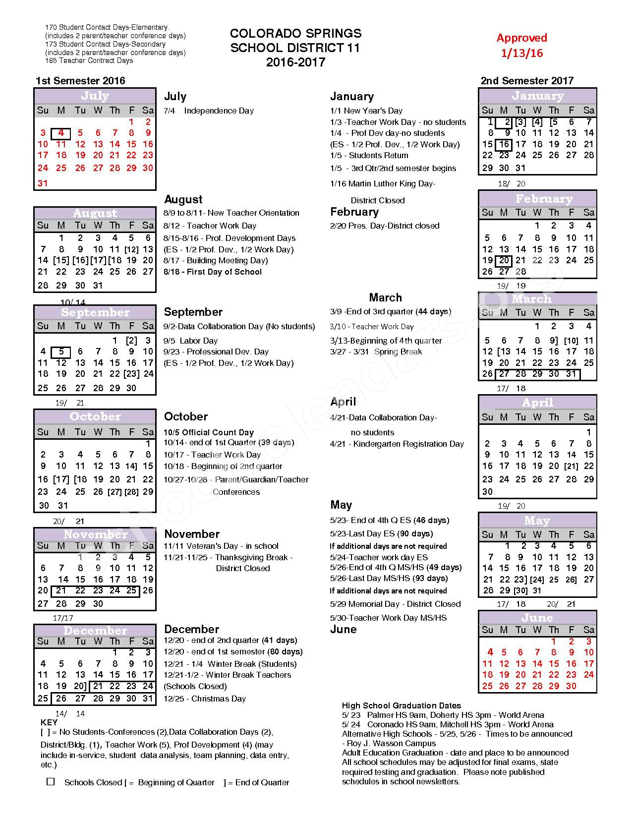 2016 – 2017 School Year Calendar   Colorado Springs School Regarding District 20 Colorado Springs Calendar