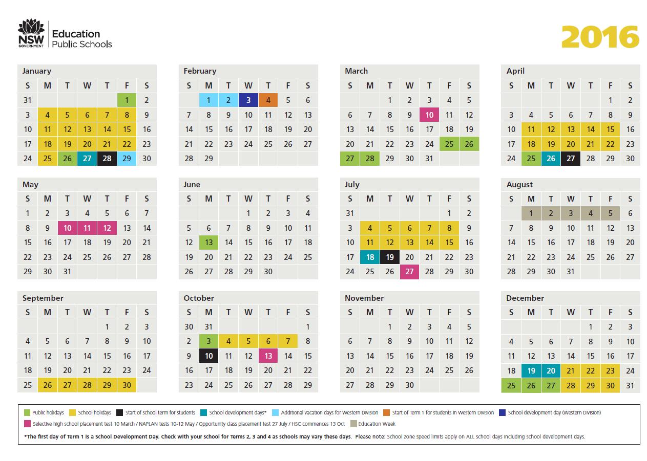 2016 School Calendar - Lake Munmorah Public School Intended For 2015 Doe School Calendar
