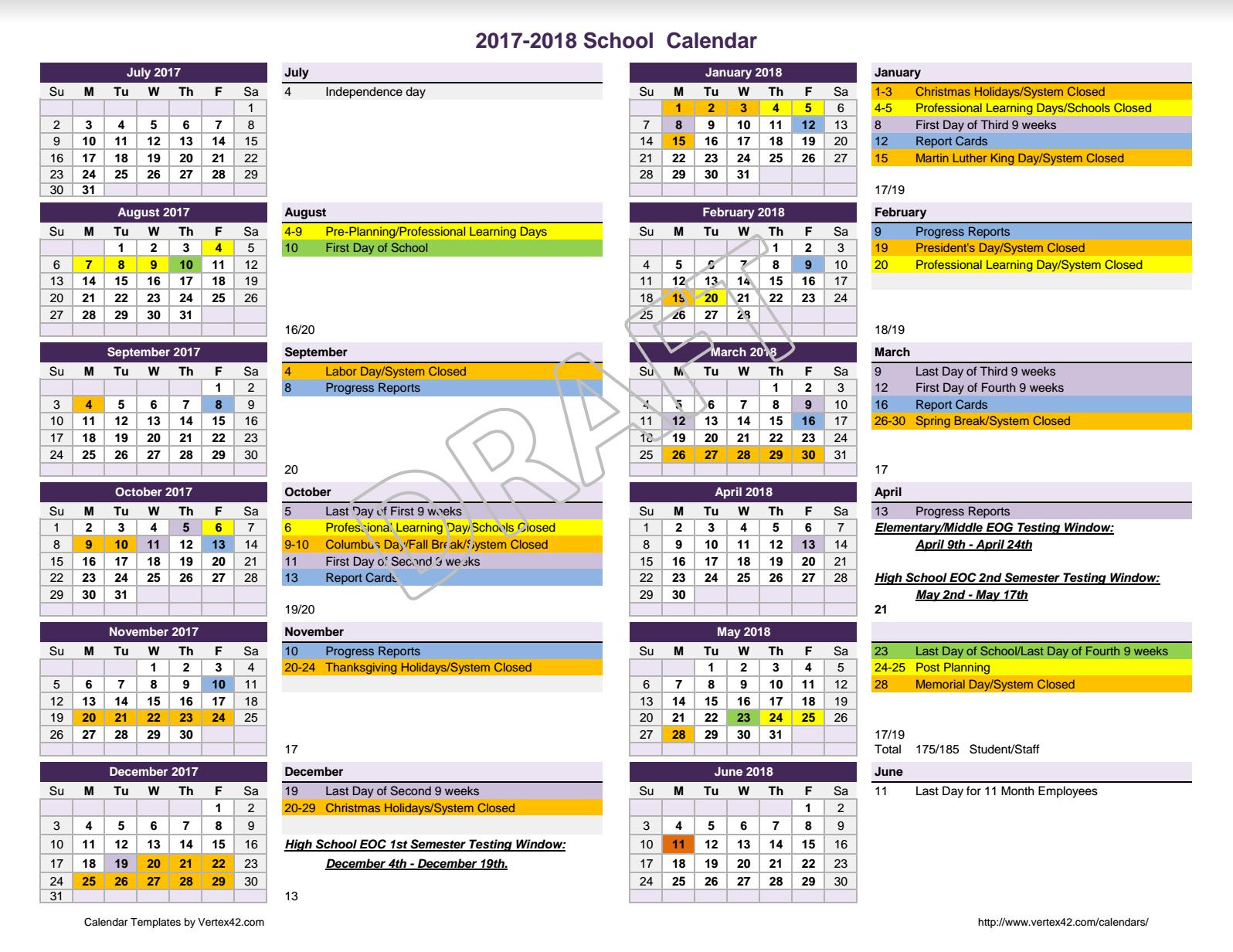 2017 – 2018 Calendar For Review – Meriwether County School With Regard To Fayette County Georgia Public School Calendar