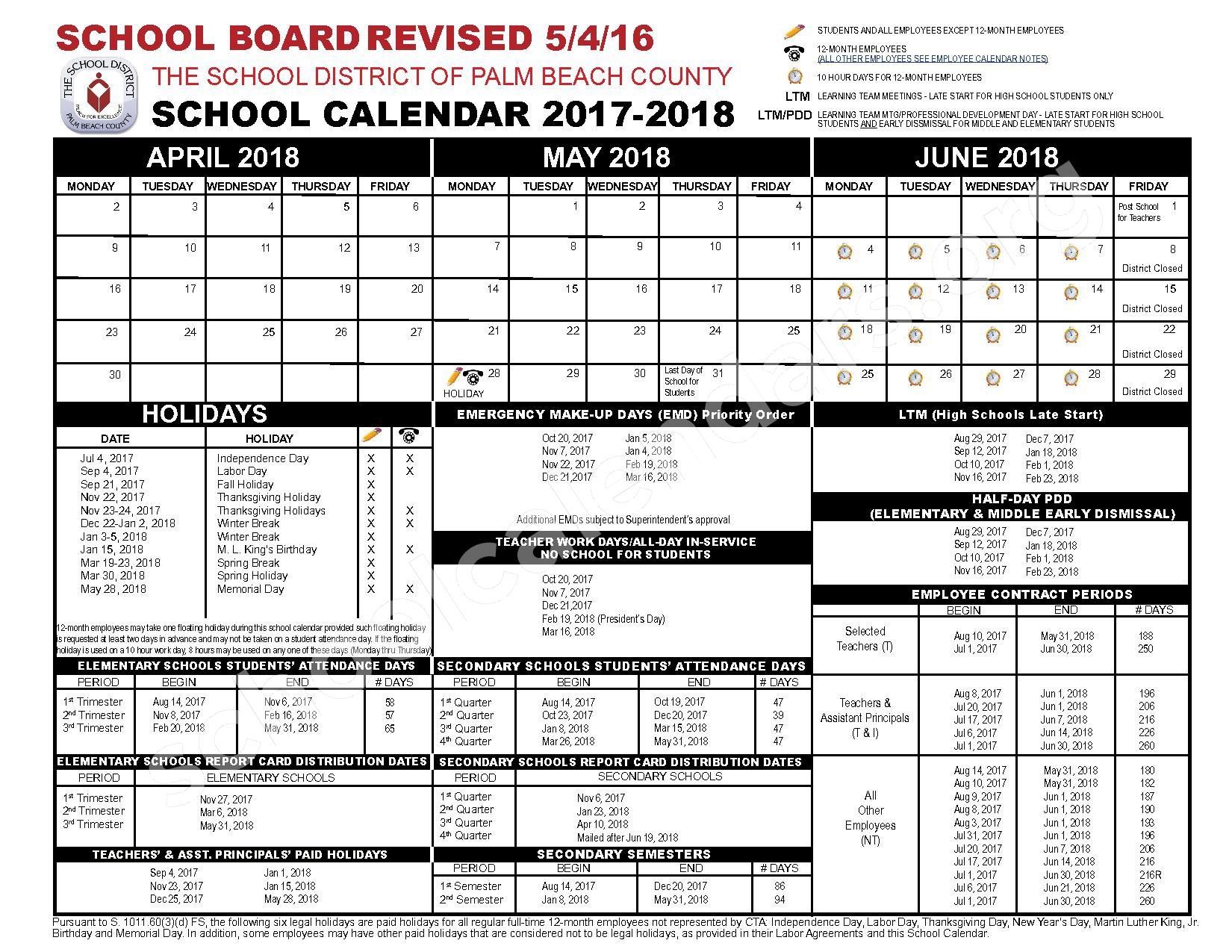 2017 - 2018 School Calendar | Palm Beach County School Within West Palm School Calendar