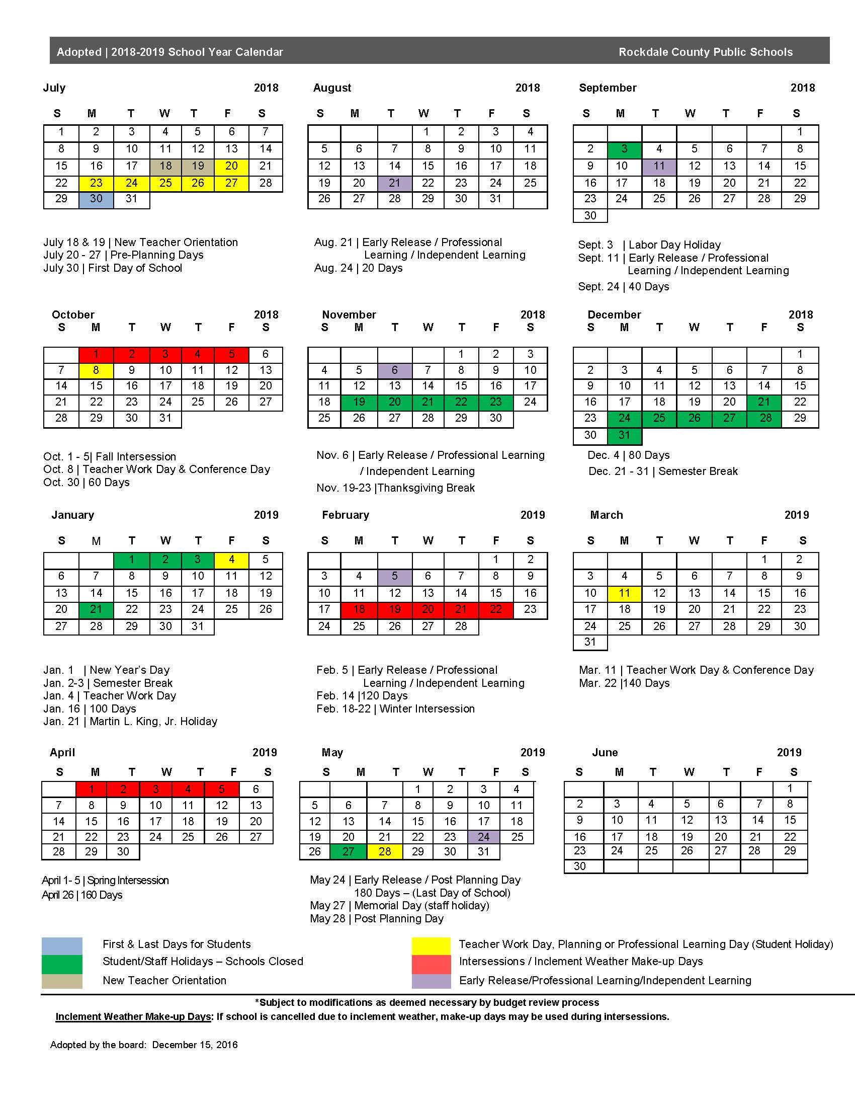 2018 19 Calendar – Rockdale County Public Schools Within Martin County School District Calendar