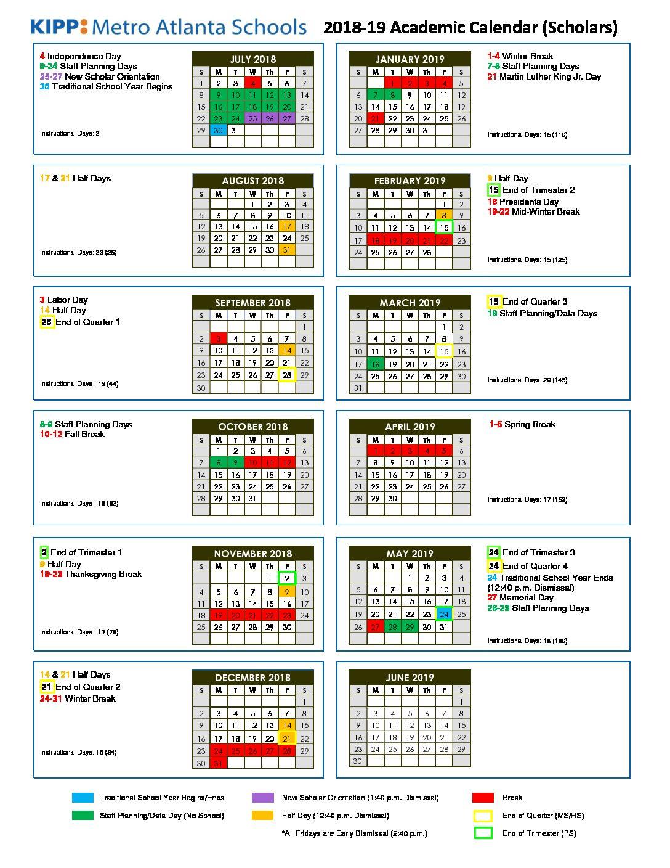 2018 19 Kipp Metro Atlanta Schools Calendar – Kipp Metro Atlanta Inside Fayette County Georgia School Calendar