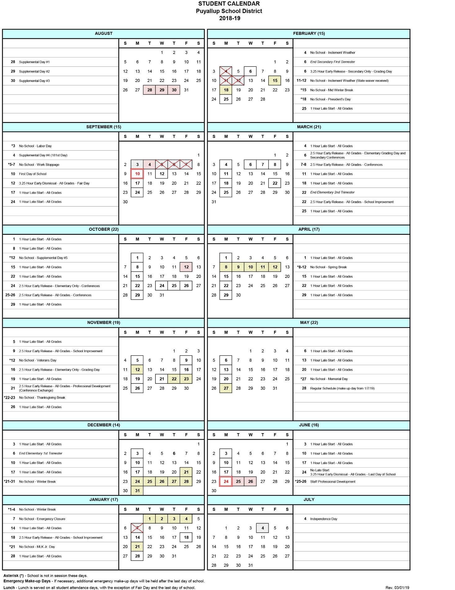 2018 19 Student Calendar Revision – Puyallup School District Within Wake Tech Calendar 2021