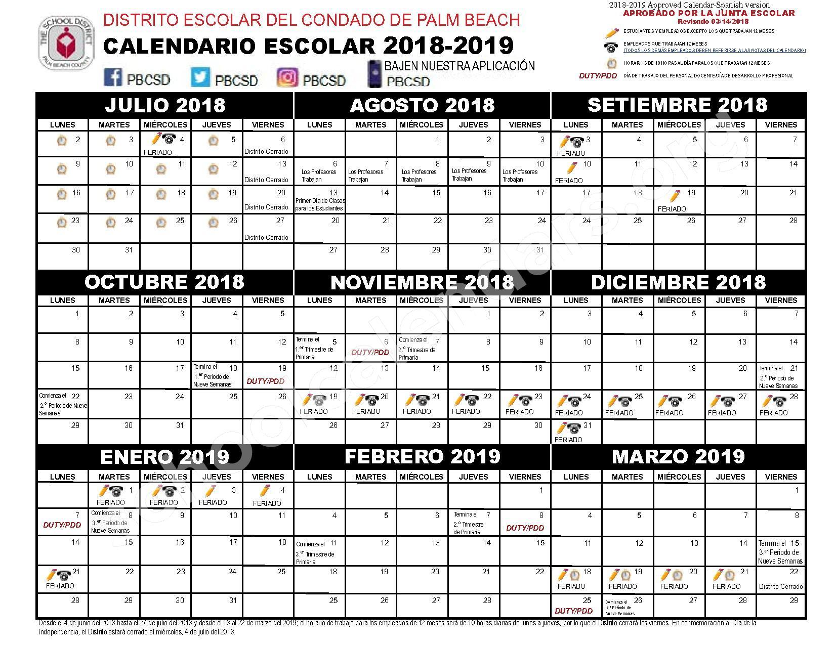 2018 - 2019 Calendario Escolar | Palm Beach County School Regarding West Palm School Calendar