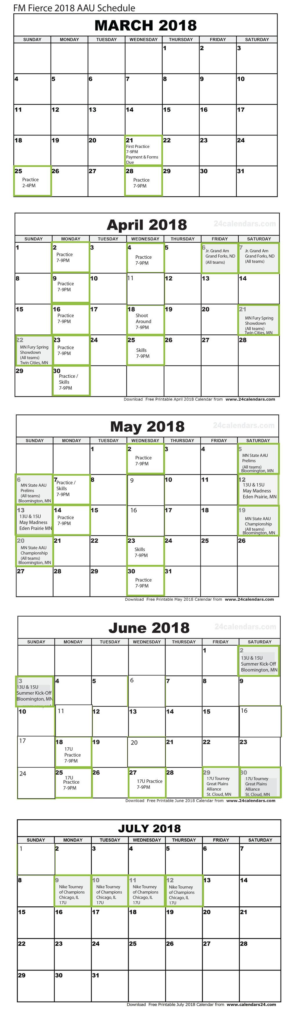 2018 Aau Practice & Tournament Schedule — Fm Fierce In Eden Prairie High School Calendar 2021