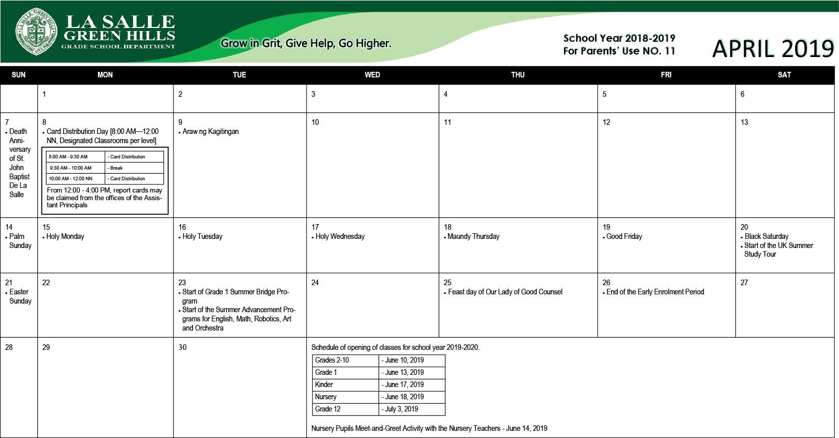 2018 Academic Calendar – La Salle Green Hills Grade School Within La Salle University Calander