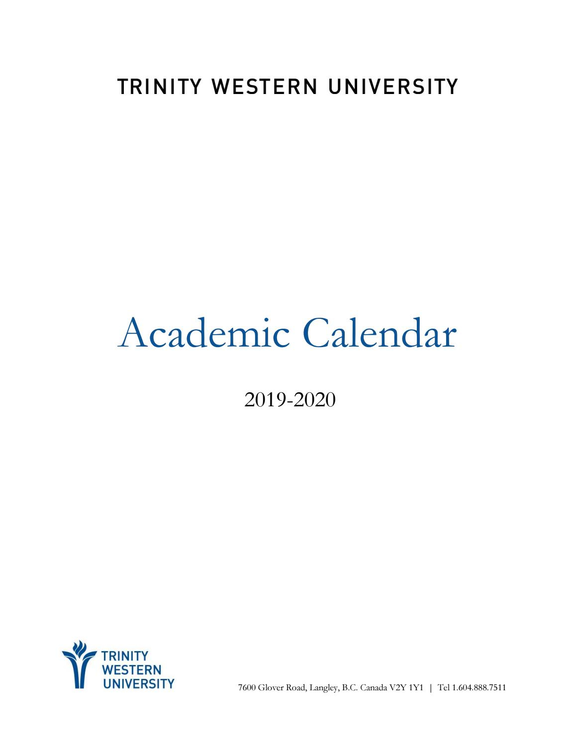 2019-20 Academic Calendartwu - Issuu regarding St Charles Commnity College Calendar'