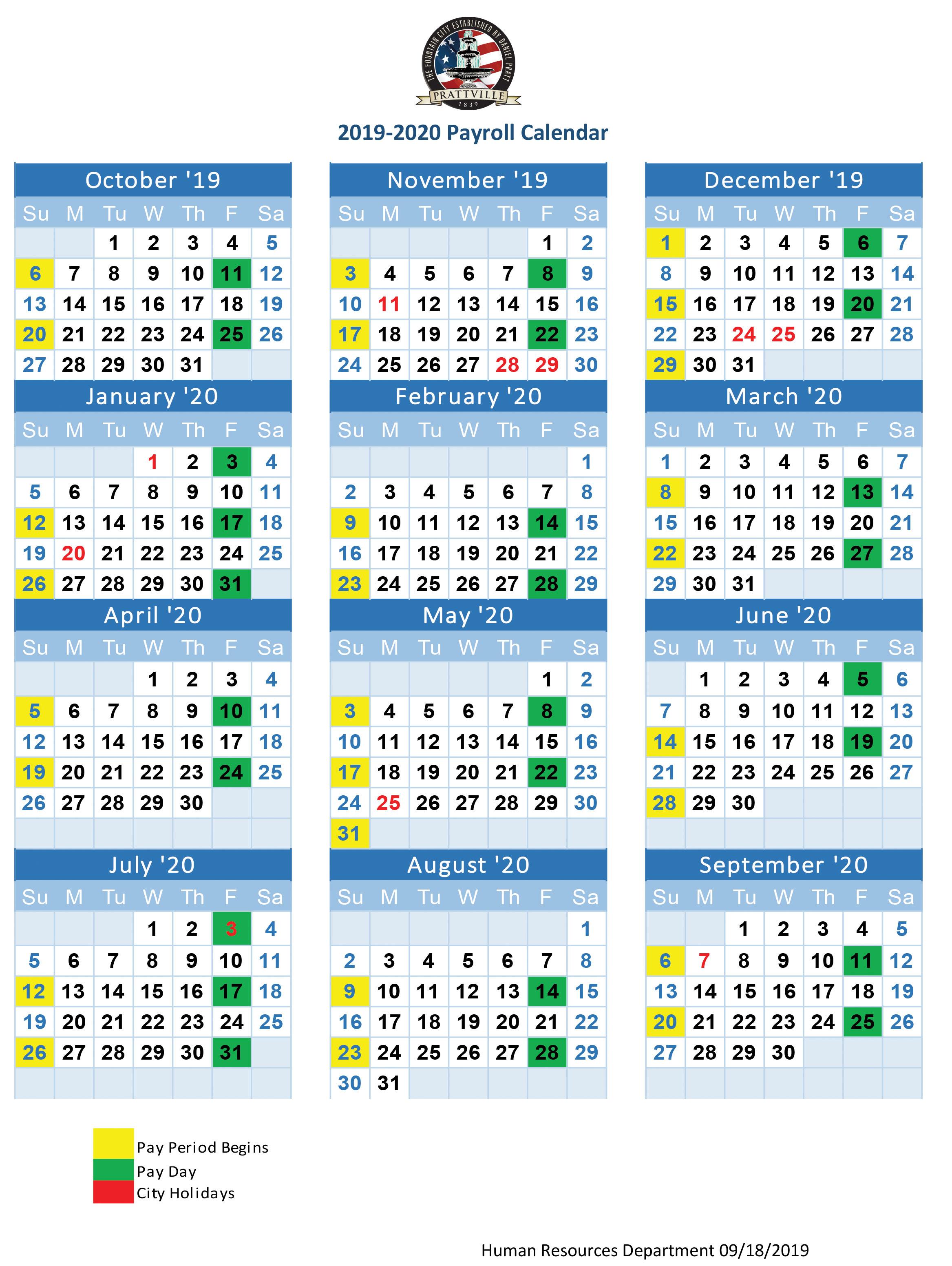 2019 20 Payroll Calendar | Human Resources : Prattville For Federal Payroll Calendar 2020