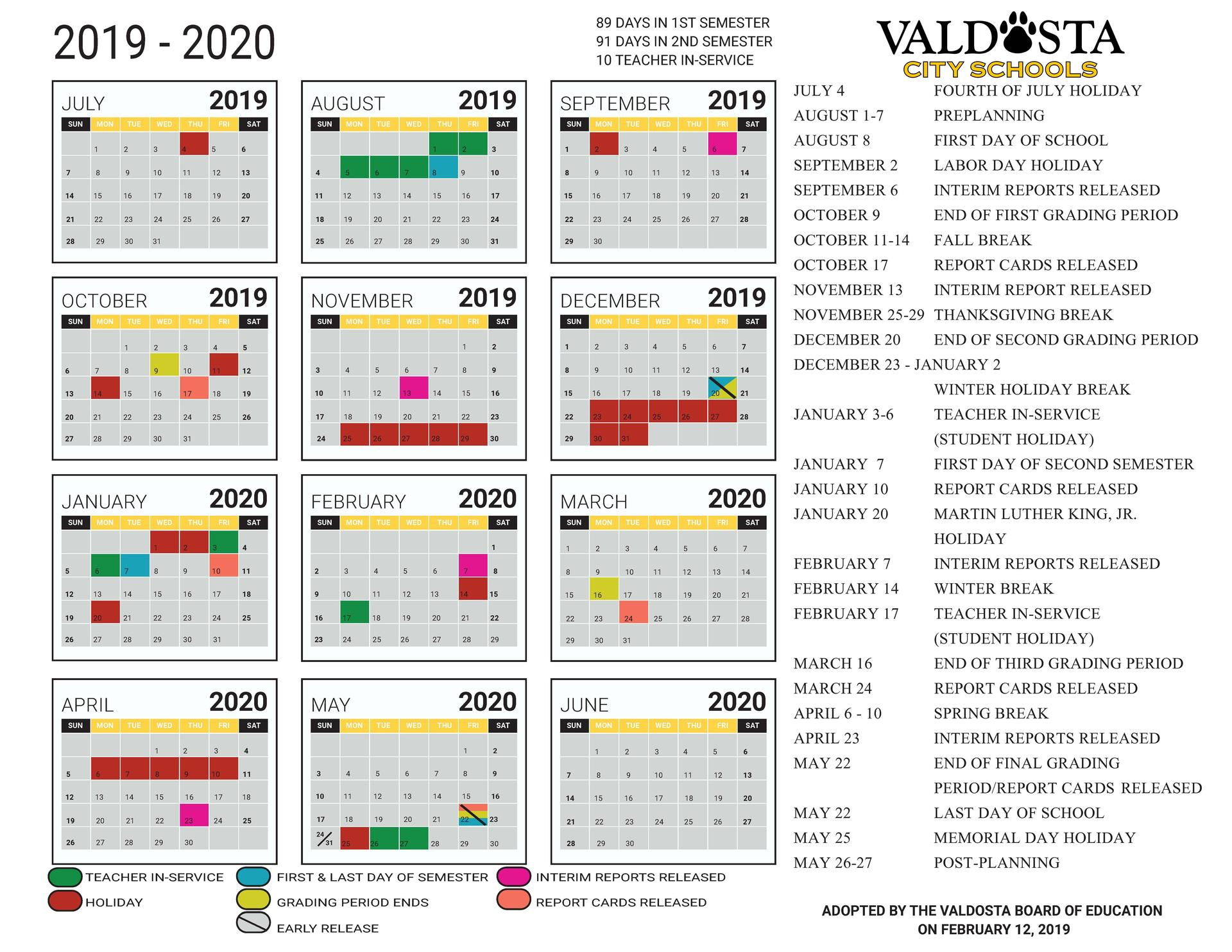 2019 - 2020 Academic Calendar – Student Support Services Intended For Georgia State University Calendar 2021 2020