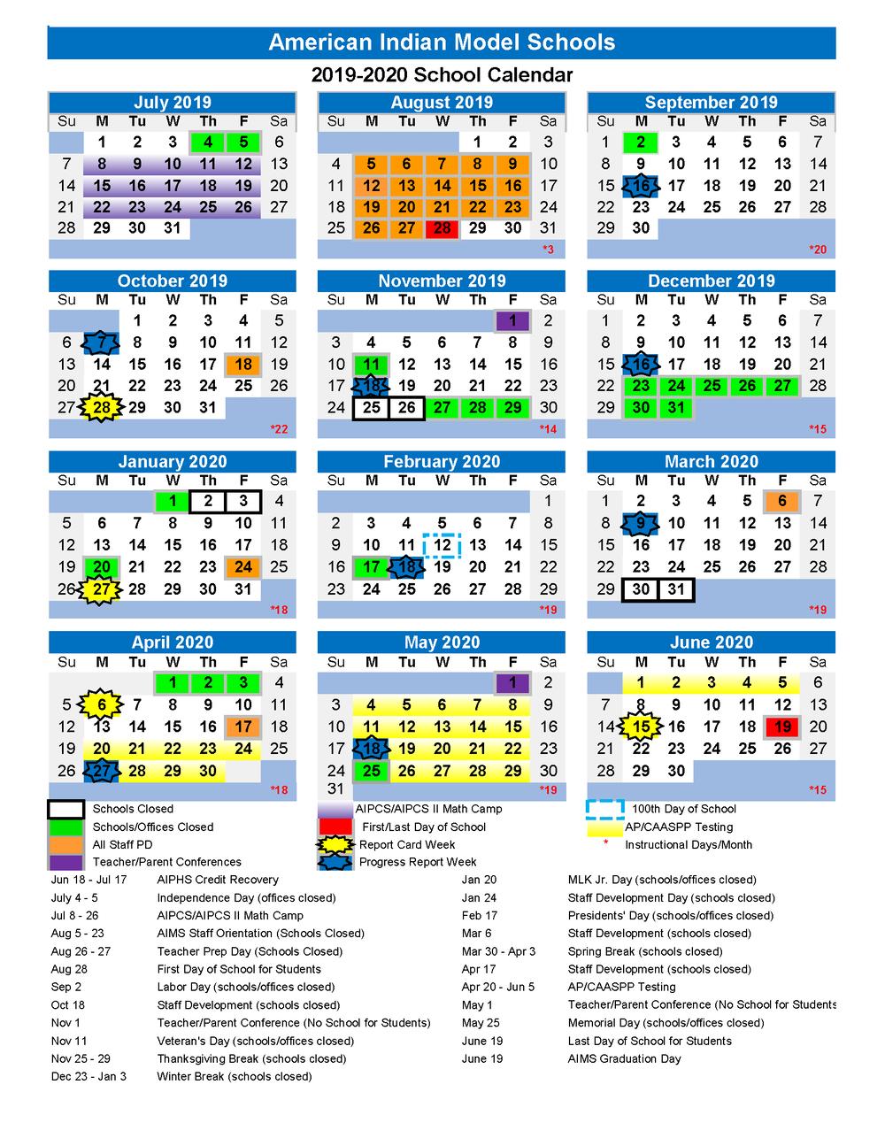 2019 2020 Aims College Prep School Calendar Is Here! — Aims K 12 Intended For Sn Leandro High School Calendart