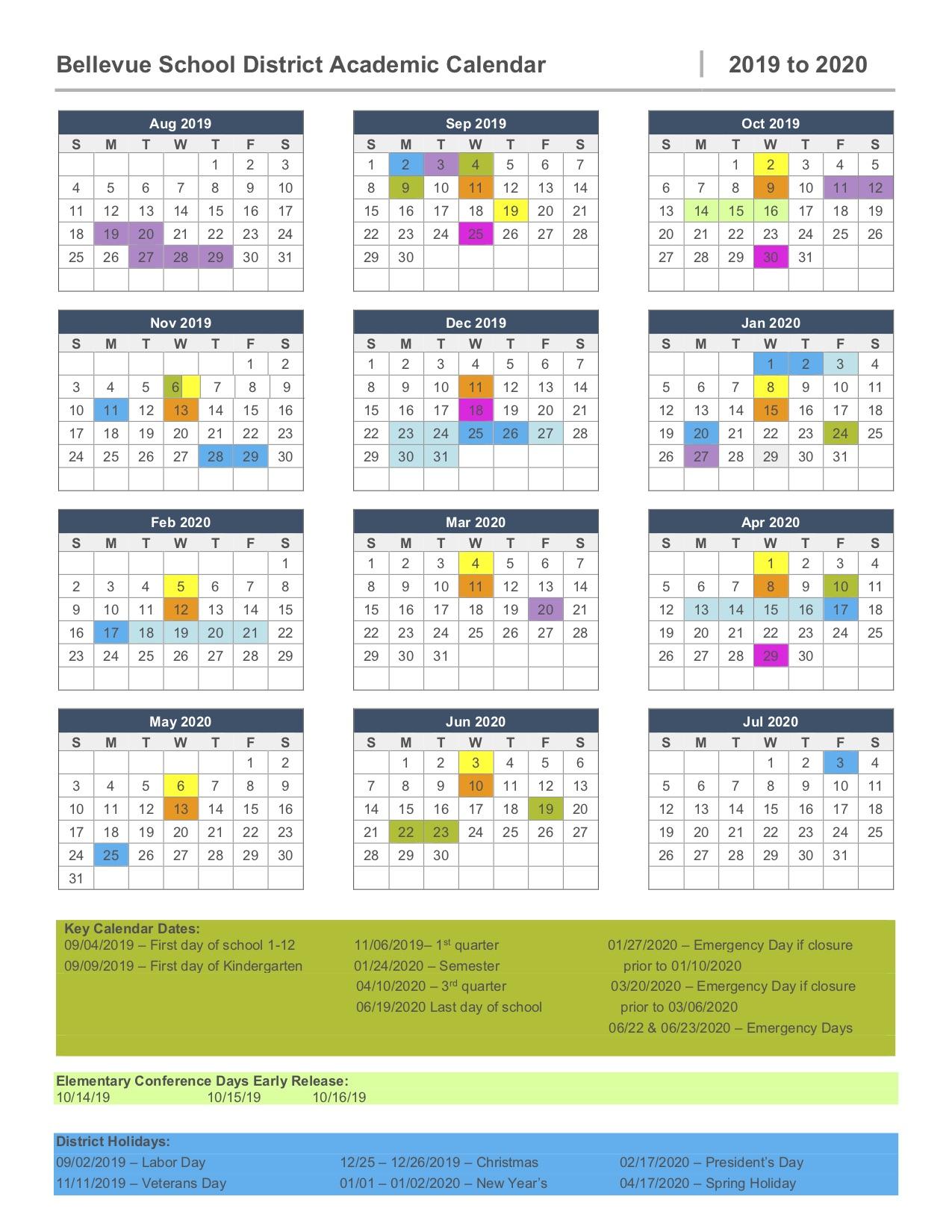2019 2020 Calendar – Bellevue High School Throughout Clover Park Technical College Calendar