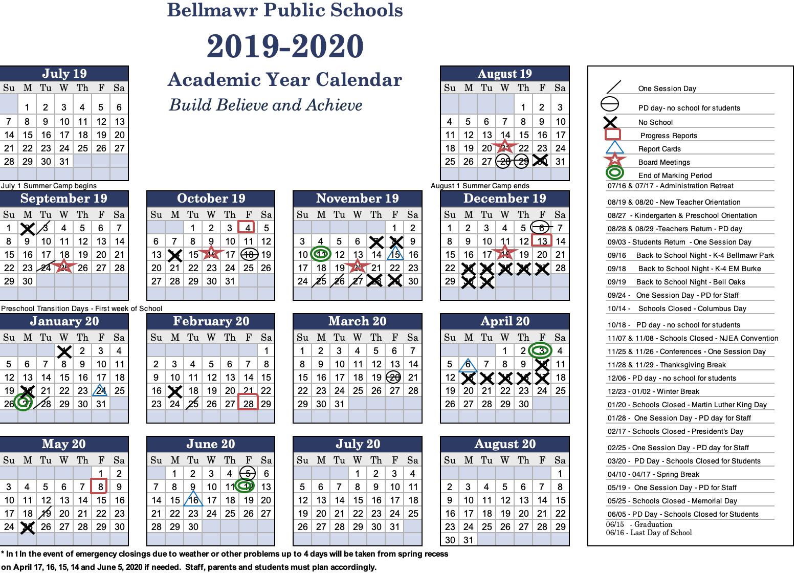 2019  2020 Calendar - Bellmawr Public School District Inside Last Day Of Summer Calendar