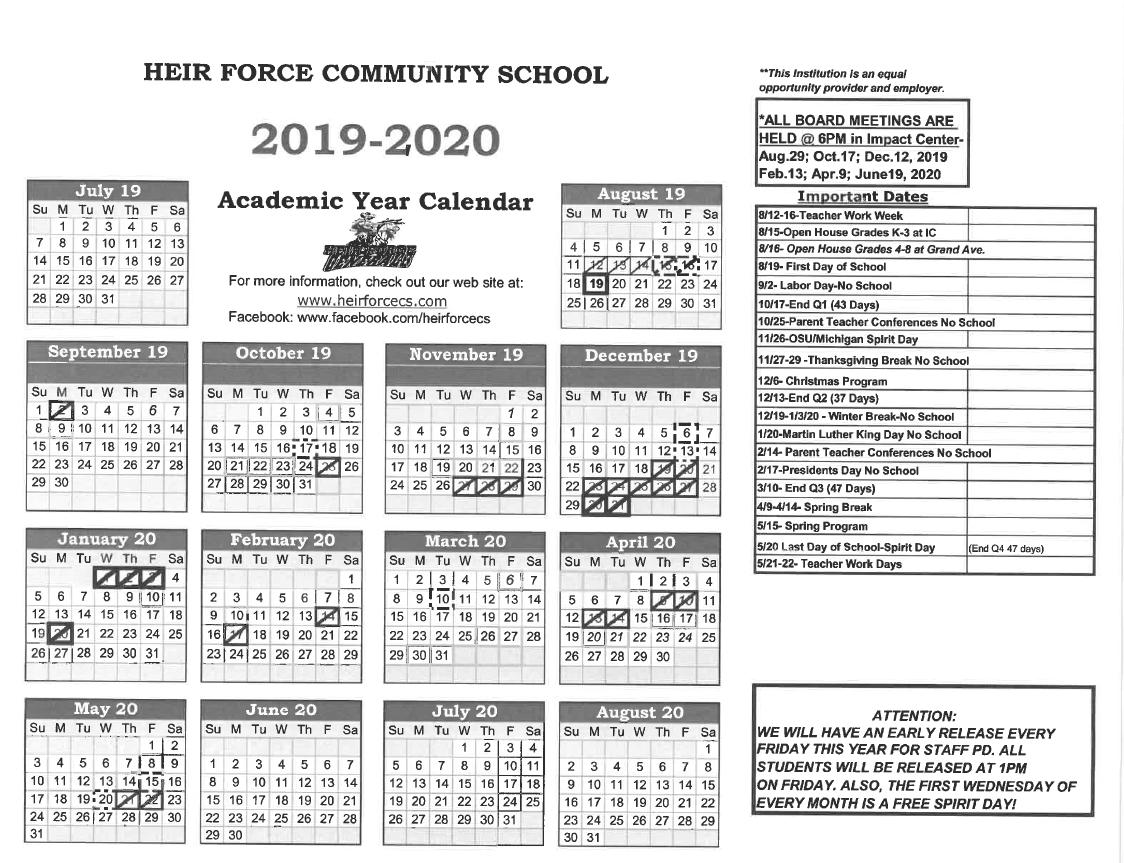 2019 2020 Calendar   Heir Force Community School With Owens Community College Calendar 2020