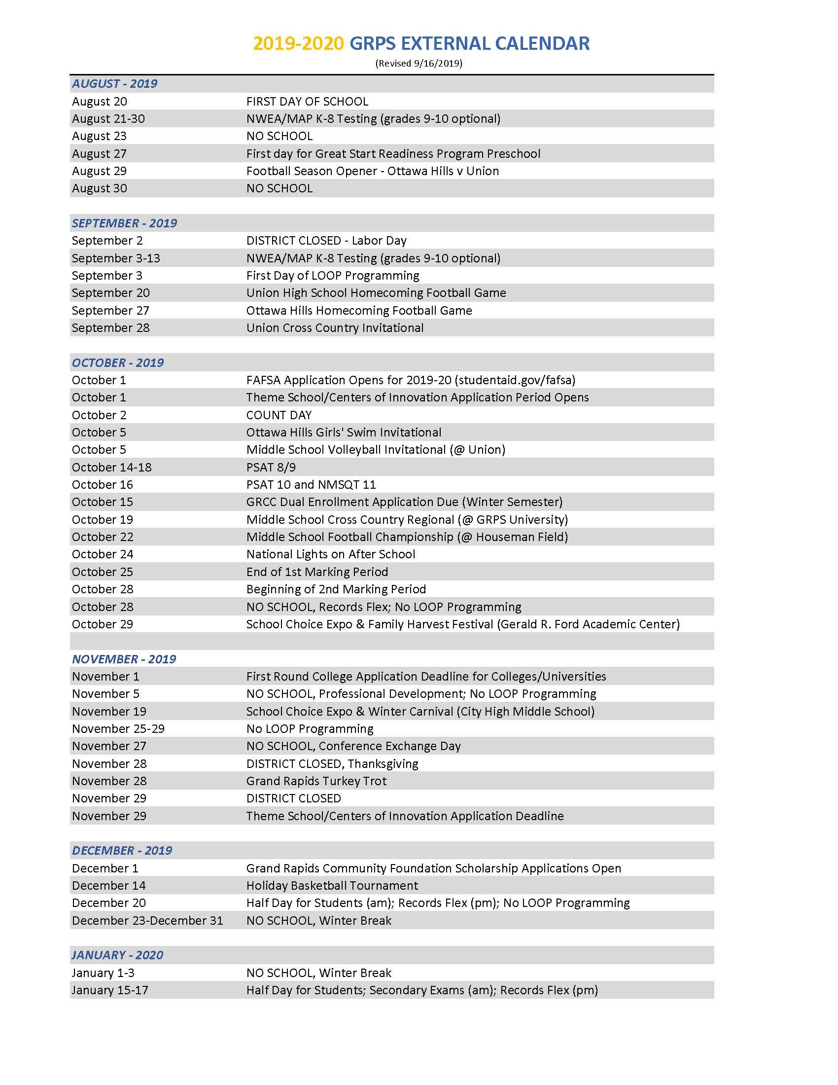 2019-2020 District Calendar regarding Grand Rapids Public School Calendar