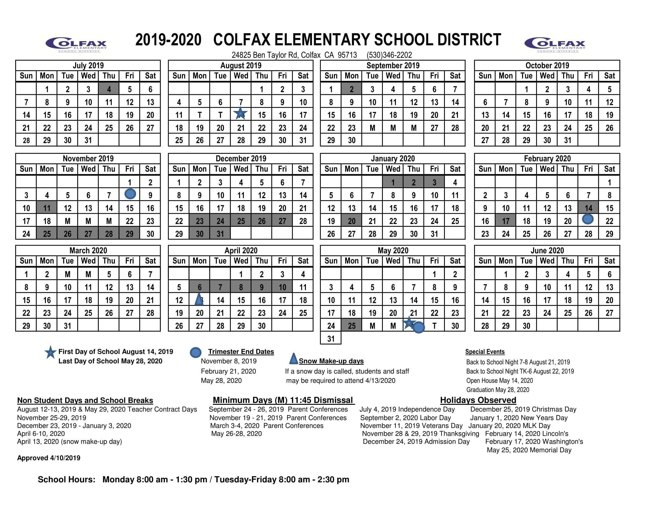 2019 2020 District Calendar – Schools – Colfax Elementary Within Lodi Unified School District Calendar