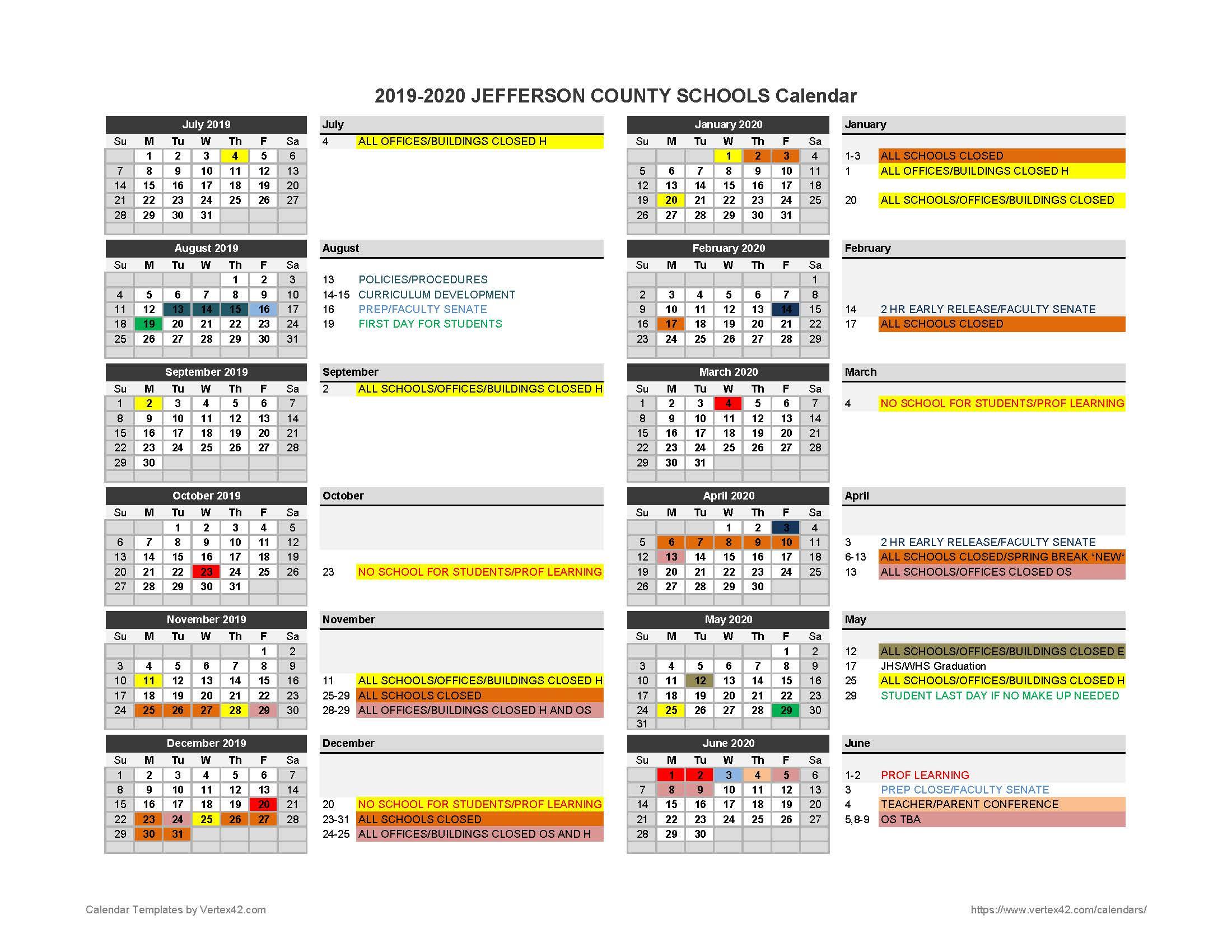2019-2020 Parent Calendar - Jefferson County Schools inside Jefferson County Colorado School Calendar