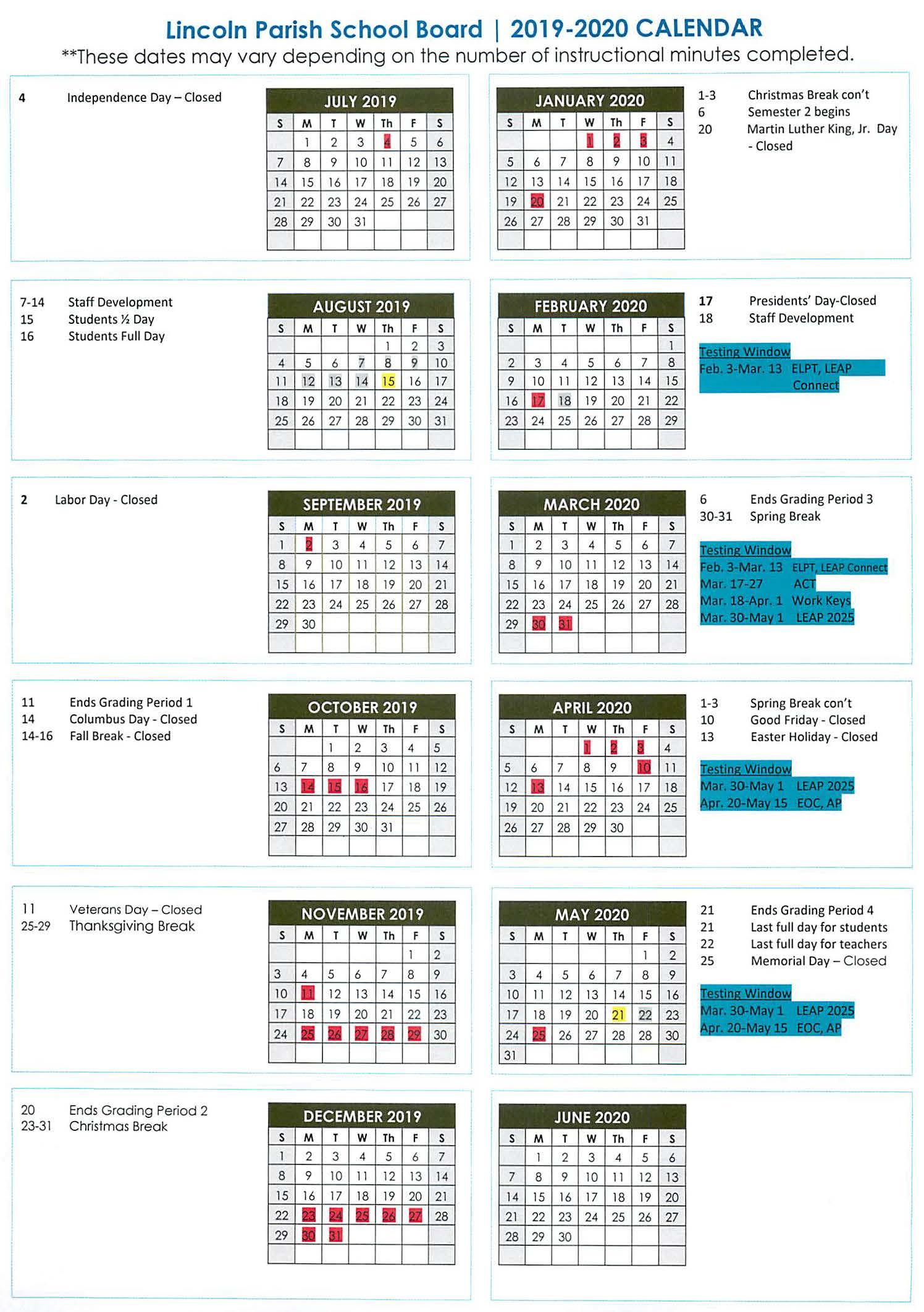 2019-2020 School Calendar Adopted | Lincoln Parish News Online with regard to Lincoln Parish School Calendar 2021 2020