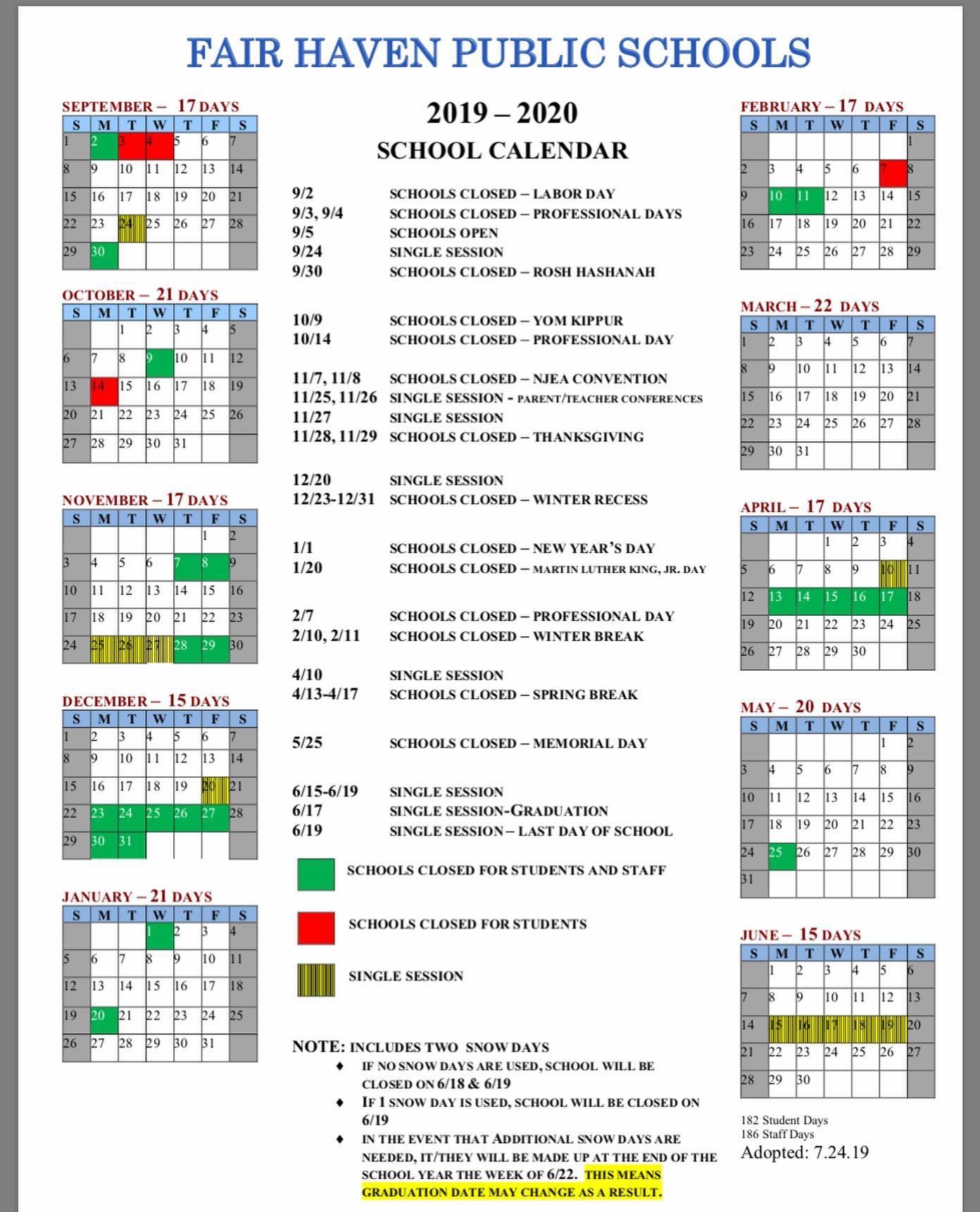 2019 2020 School Calendar Amended - Fair Haven Public Schools Pertaining To New Jersey School Public Educatiom Calendar