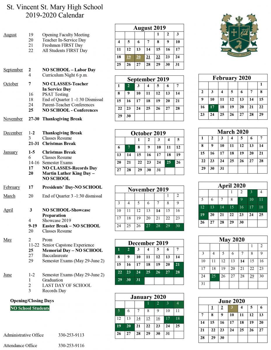 2019-2020 School Calendar Released | St. Vincent-St. Mary for University Of Akron Spring 2020 Calendar