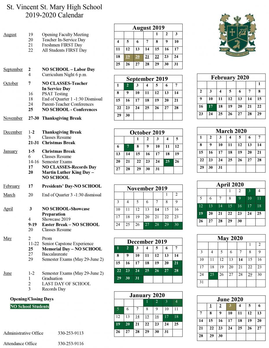 2019-2020 School Calendar Released | St. Vincent-St. Mary in University Of Akron Calendar Spring 2020
