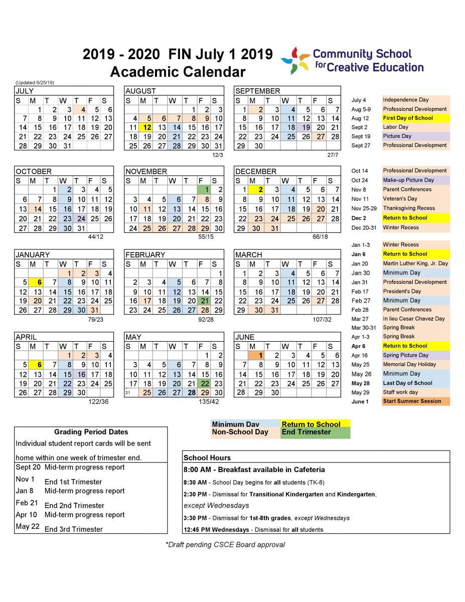 2019 2020 School Year Calendar | Community School For Within Gilroy Unified School District Calendar 2021