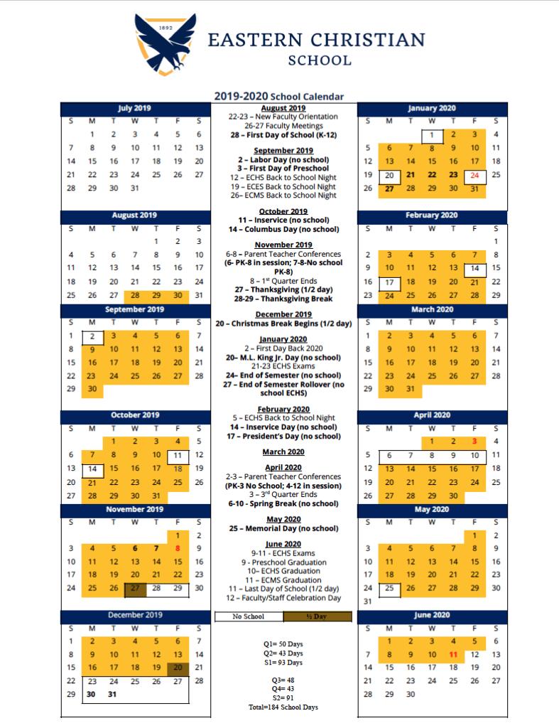 2019-2020 School Year Calendar Is Here! - Eastern Christian for Woodbridge Township School Calendar