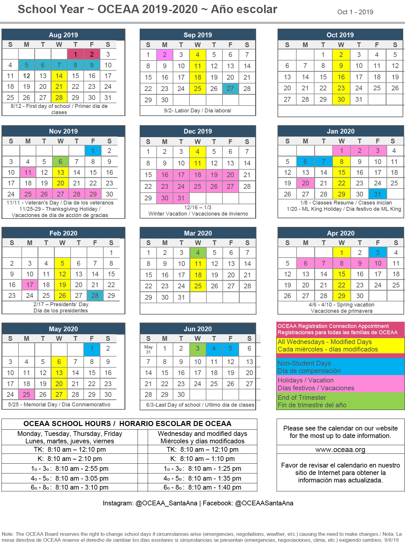 2019 2020 School Year Calendar – Oceaa – A Tk 8Th Santa Ana With Regard To University Of Southern California School Calendar 2021 2020