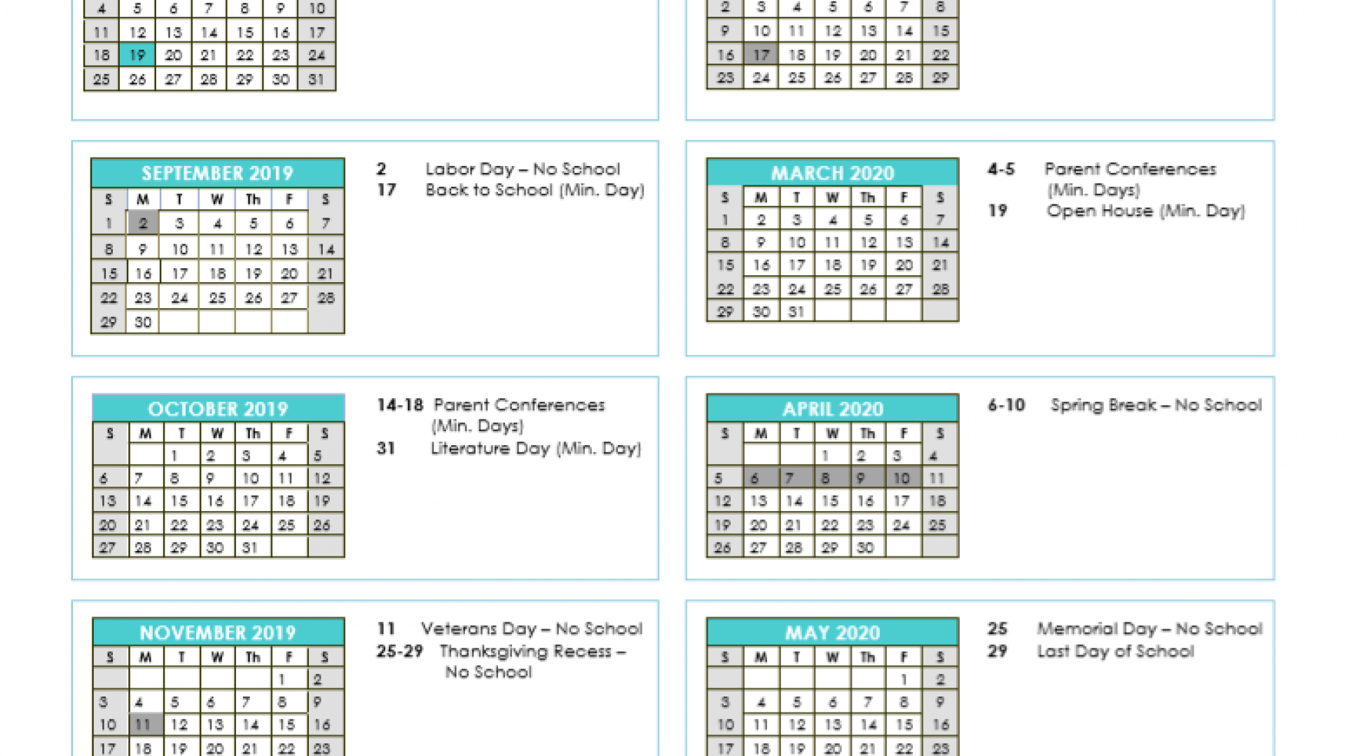 2019-2020 Spcs Oceanside School Calendar - Oceanside with regard to Oceanside Unified School District Calendar