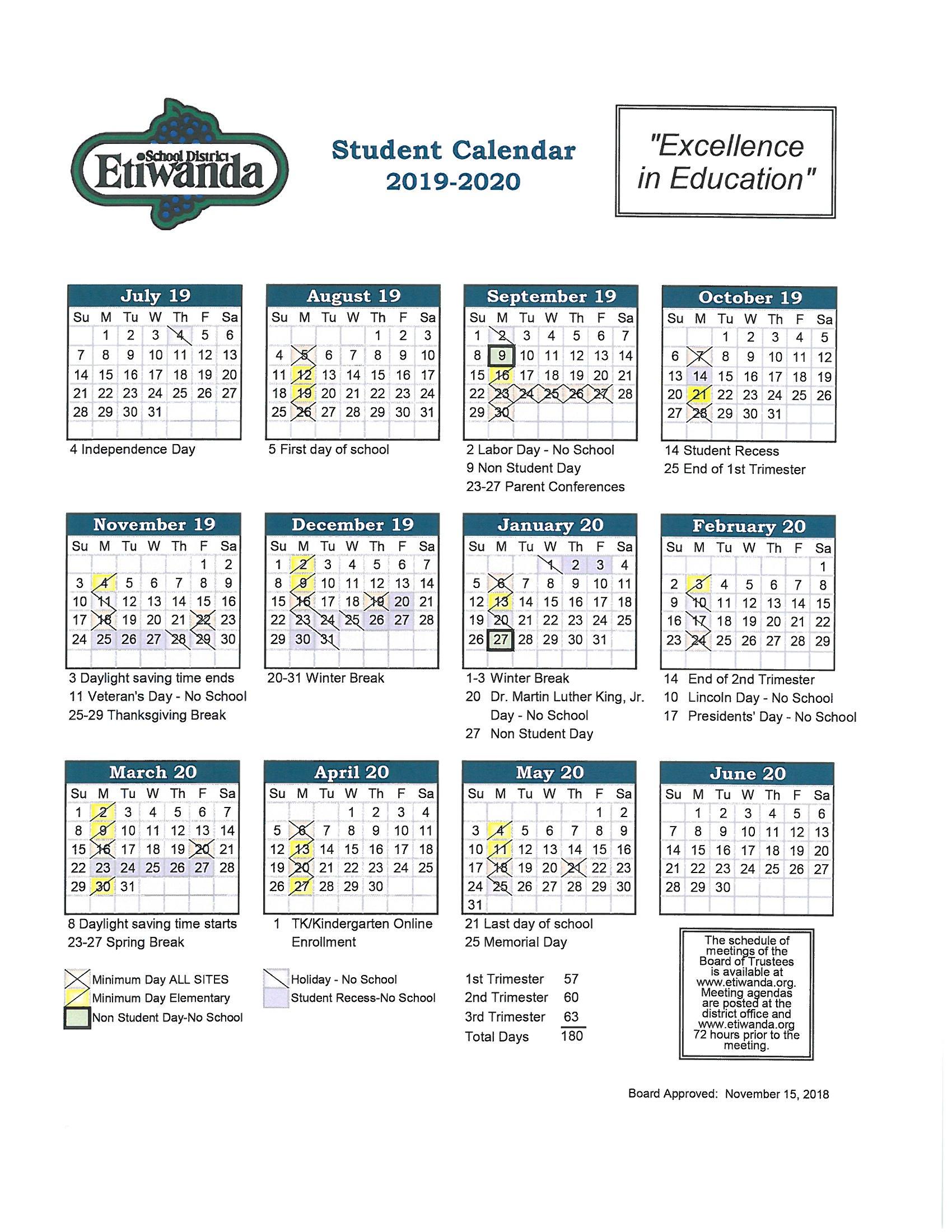 2019 2020 Student Calendar - Caryn Elementary Intended For Victorville Elementary School Calendar