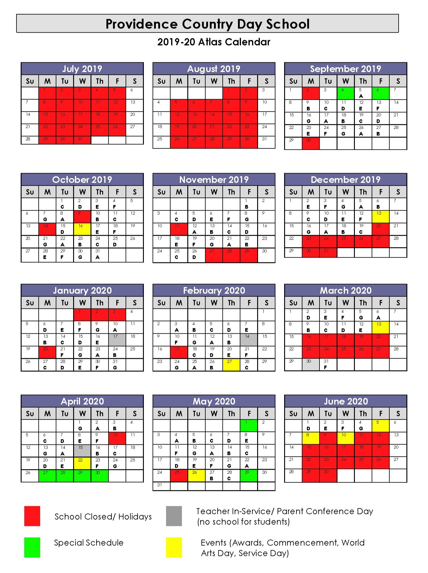 2019–2020 Year-At-A-Glance - Providence Country Day School inside University Of Rhode Island Calendar 19 20