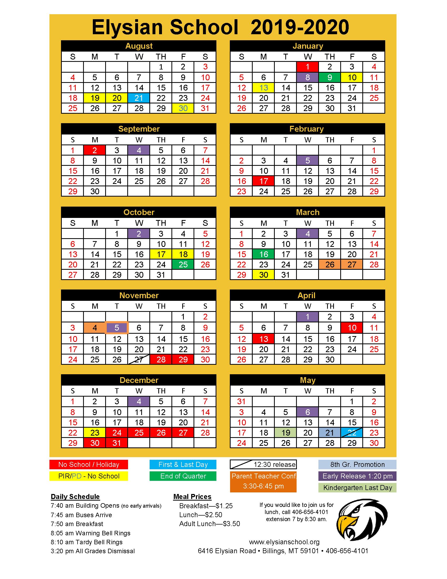 2019 2020 Year Calendar | Elysian School For Billings School Distric 2 Calendar