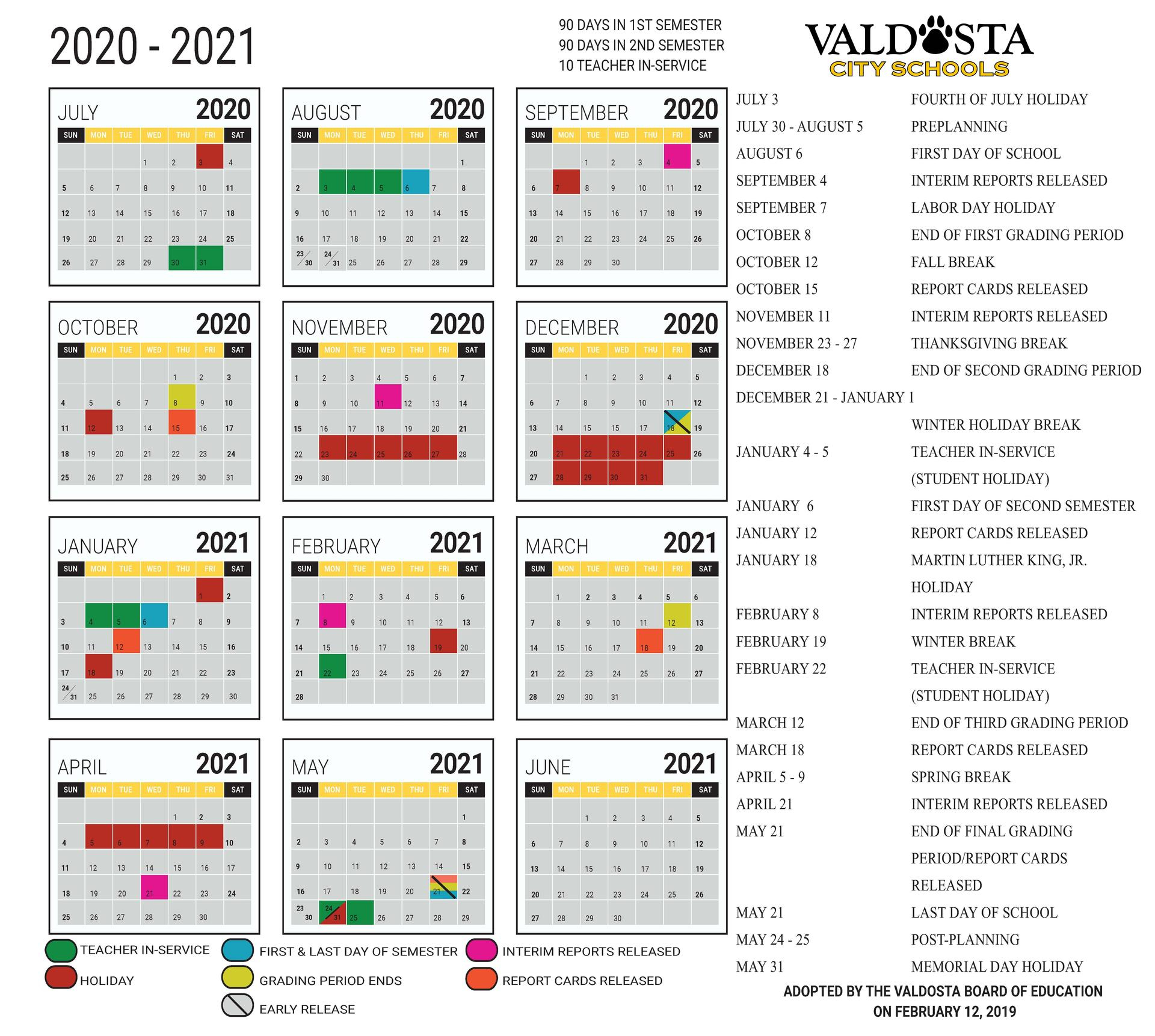 2020 - 2021 Academic Calendar – Student Support Services Pertaining To Georgia State School Calendar 2020