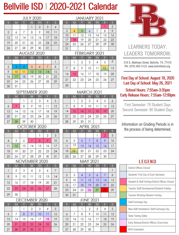 2020 2021 Bisd Calendar - Bellville Independent School District Intended For New Caney School Calendar
