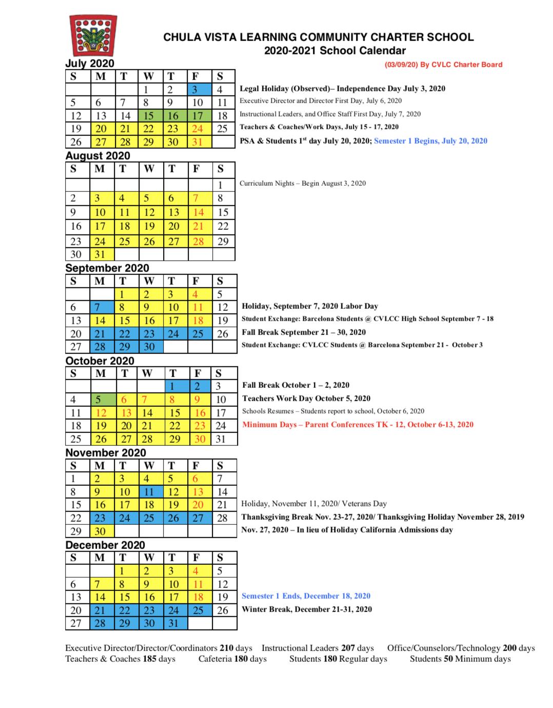 2020 -2021 Calendar – About – Chula Vista Learning Community regarding San Diego High School Calendar 2021