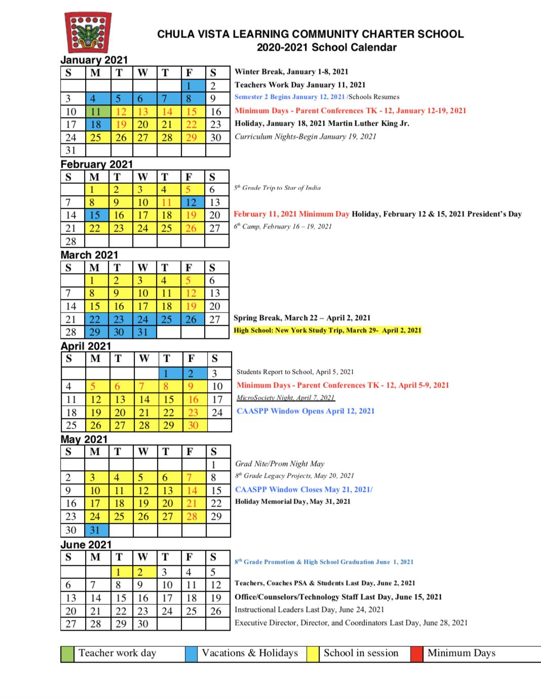 2020  2021 Calendar – About – Chula Vista Learning Community Regarding San Diego School Calendar 2021