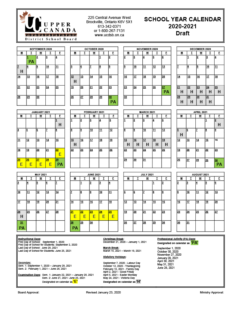2020 2021 Draft School Year Calendar – Upper Canada District Pertaining To West Clark School Calendar